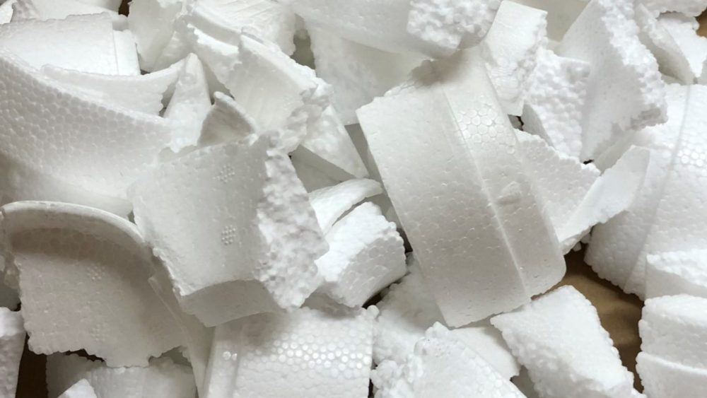 Pieces of polystyrene