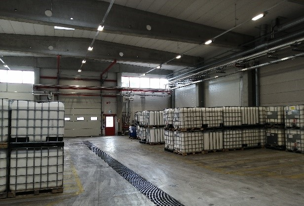 CH-Polymers IBC warehouse from the inside